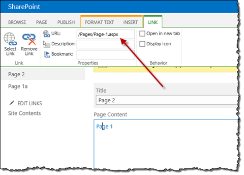 Hyperlink to a SharePoint page pointing to its physical URL