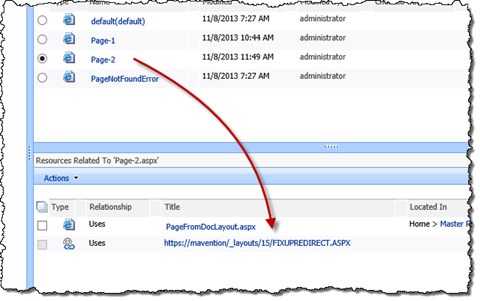 Fixupredirect link highlighted in the related resources view
