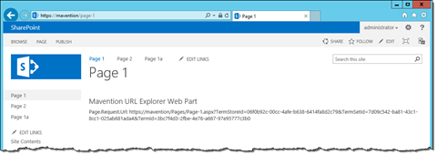 Friendly URL of page displayed in the address bar, while internal URL displayed in a custom Web Part