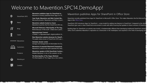 App with navigation loaded dynamically from mavention.com