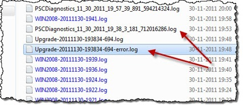 The upgrade error log file highlighted in Windows Explorer