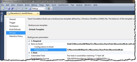 Solution selected for building in a Build Definition in TFS Build 2010
