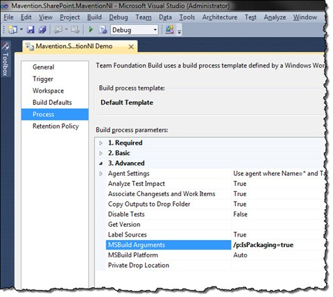 Packaging argument set in a Build Definition in TFS Build 2010