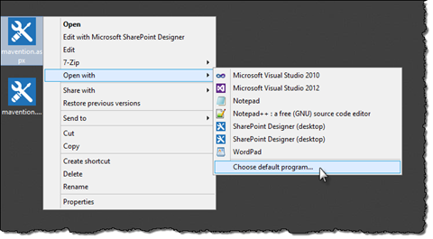 The 'Choose default program…' option highlighted in the context menu of a .aspx file