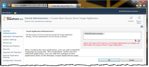 Configuring Target Application Administrator