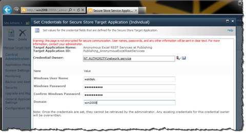 Configuring credentials for the Target Application