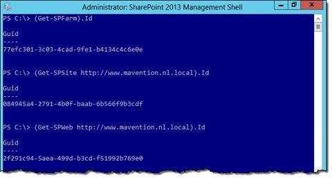 IDs of the Farm, Site Collection and Web retrieved using PowerShell