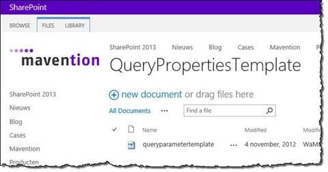 The 'queryparametertemplate.xml' file uploaded in the QueryPropertiesTemplate Document Library