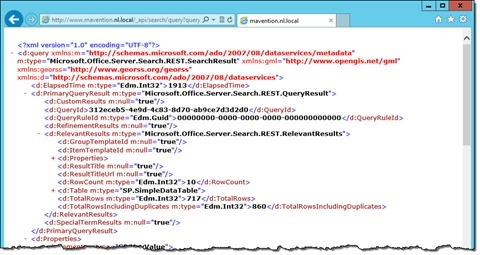 Results of a SharePoint 2013 Search REST API call issued by an anonymous user