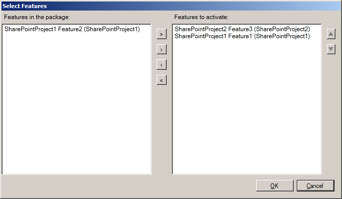 Activating selected Features during the deployment of a