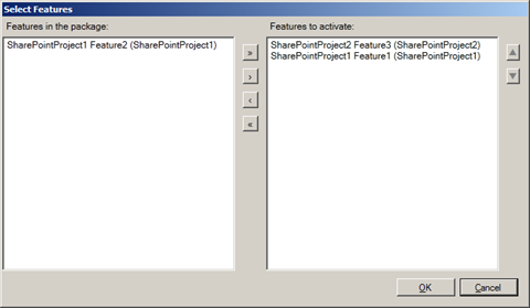 'Select Features' dialog showing Features from the current Package
