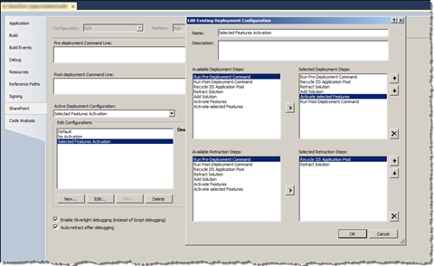 Custom Deployment Configuration with the Activate Selected Features Deployment Step
