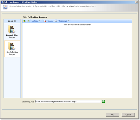 Look In dialog as shipped with SharePoint 2007