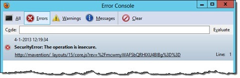 Security Error in Firefox when opening a page in SharePoint 2013