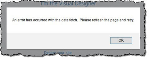 """An error has occurred with the data fetch. Please refresh the page and retry."" SharePoint error"