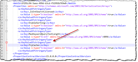 The TryCache property added to the queryparametertemplate.xml file