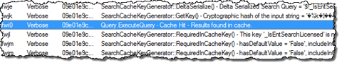 ULS log entry stating that the search result has been retrieved from cache