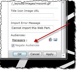 The 'Non-Managers Announcement' Web Part targeted to Managers with Negated Audience enabled