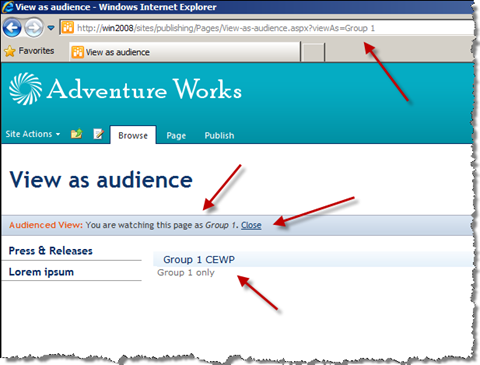 Publishing Page with a Content Editor Web Part. Some information has been marked with arrows