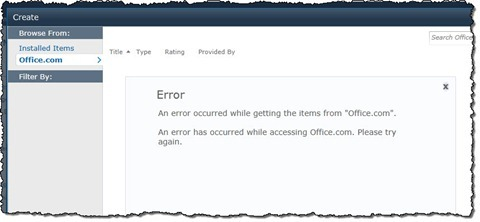 Error message displayed after clicking the Office.com link in the Create dialog window