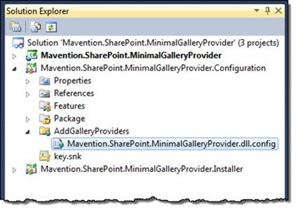 The configuration file highlighted in the Solution Explorer