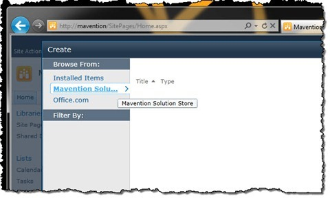 Mavention Solution Store selected in the Create dialog window