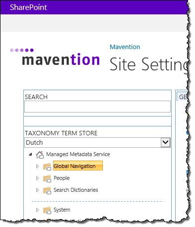 The 'Global Navigation' Global Term Group highlighted in the Term store management tool in SharePoint 2013