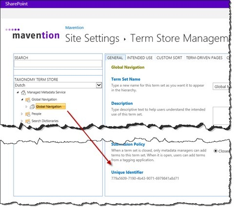 The ID of the 'Global Navigation' Term Set highlighted in the Term store management tool in SharePoint 2013