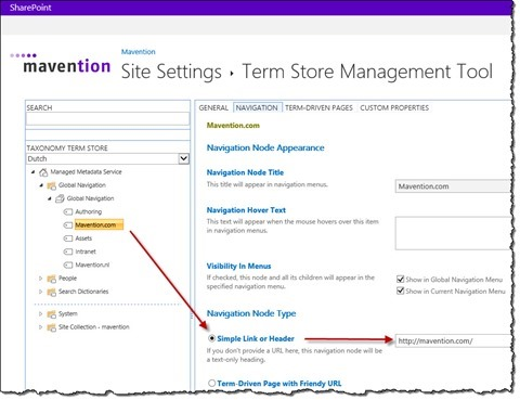 URL configuration of one of the navigation terms in the Term store management tool in SharePoint 2013