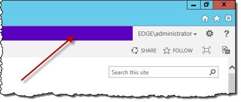 The 'Suite Links' area highlighted on the standard SharePoint 2013 Master Page