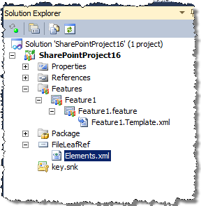 Imported Field added to the active SharePoint Project