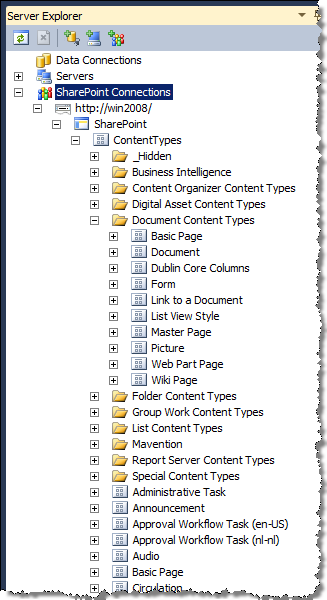 Grouped view of Site Content Types in the Visual Studio Server Explorer