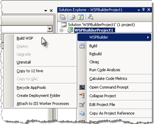 Building a WSP using WSPBuilder context menu in Visual Studio