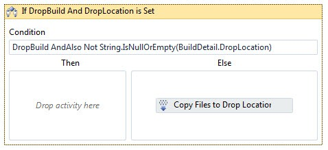 The 'Copy Files to Drop Location' item moved to the 'Else' clause