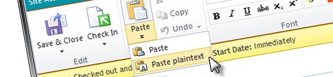 Configuring SharePoint 2010 Rich Text Editor to allow 'Paste plaintext' only