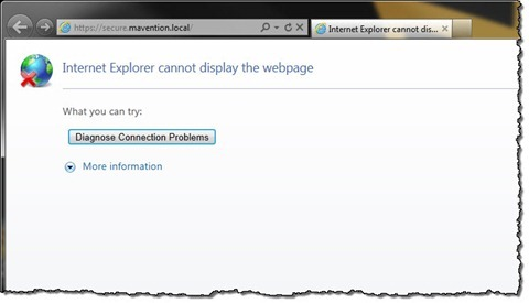 'Internet Explorer cannot display the webpage' error message displayed in browser