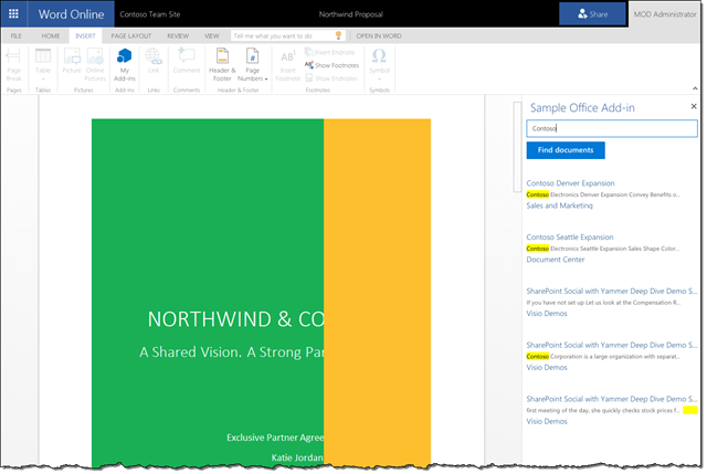 Task Pane Add-in allowing to search for documents in SharePoint Online from within Word Online