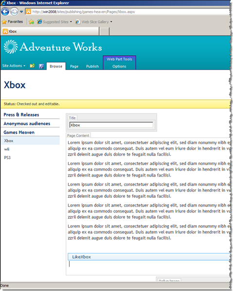 The Write Web Part on the Xbox page in Edit Mode