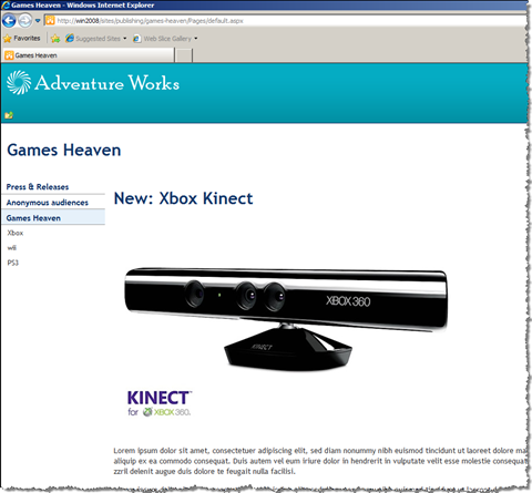 Xbox advertisement displayed for anonymous users who like Xbox