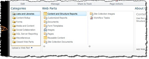 Web Part Gallery filled with Web Parts on a standard SharePoint 2010 Publishing Site