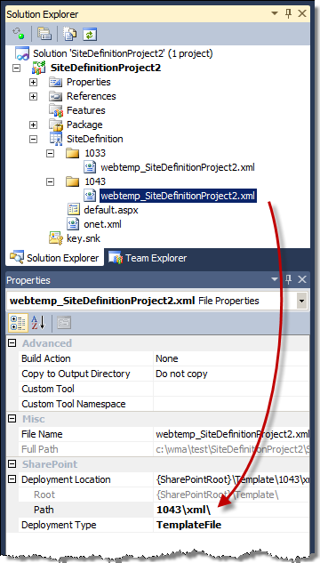 Changing the Deployment Location for a WebTemp*.xml file using the Properties Window