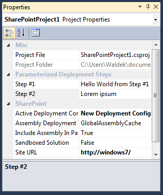 Providing values for the Parameterized Deployment Steps properties
