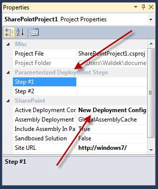 Two custom properties are being displayed in the Properties Window, one for every Parameterized Deployment Step added to the Deployment Configuration