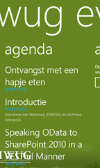 DIWUG event WP7 app showing the agenda of the upcoming DIWUG event