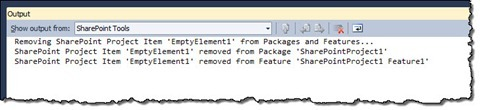 Information about removed SPI references displayed in the Output window