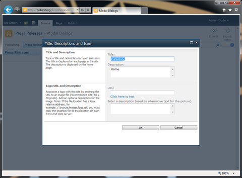 The 'Title, Description, and Icon' page opened in a SharePoint 2010 Modal Dialog.