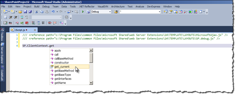 Intellisense options visible for the SharePoint 2010 JSOM in a .js file.