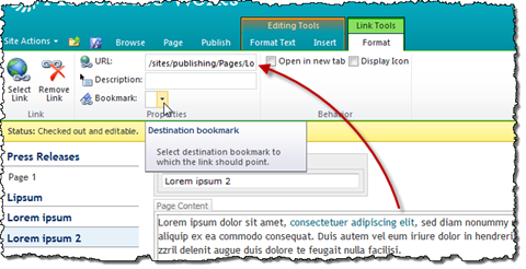 Bookmark choice list highlighted in the Link Properties on the Ribbon. A red arrow points from the hyperlink in the Rich Text Editor to the URL field in Link Properties.