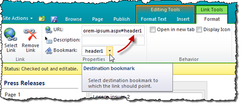 Bookmark selected in the Bookmark Picker automatically added to the URL.