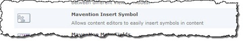 The Mavention Insert Symbol Feature in the Site Collection Features list